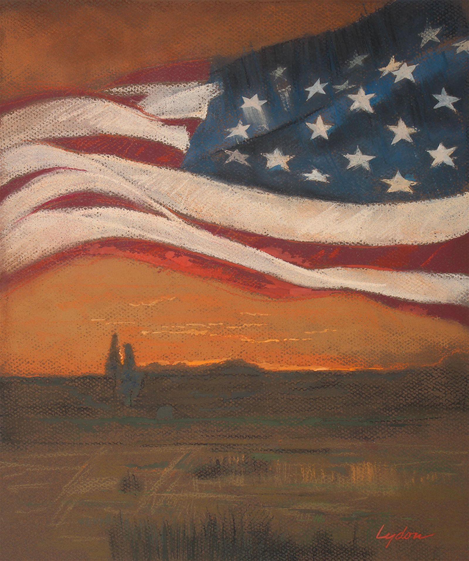"""Tom Lydon (B. 1944) """"Flag over Field"""""""