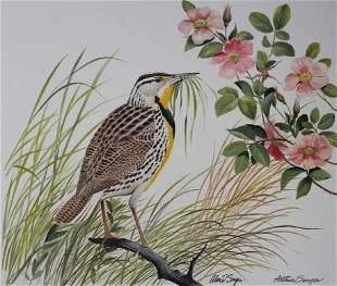 """Arthur Singer (1917 - 1990) """"Meadowlark & Rose"""""""