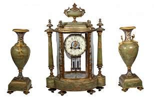 Important Tiffany Co Champleve 3 Pc Clock Set
