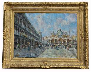 Signed, Impressionist Italian Painting. St Mark's