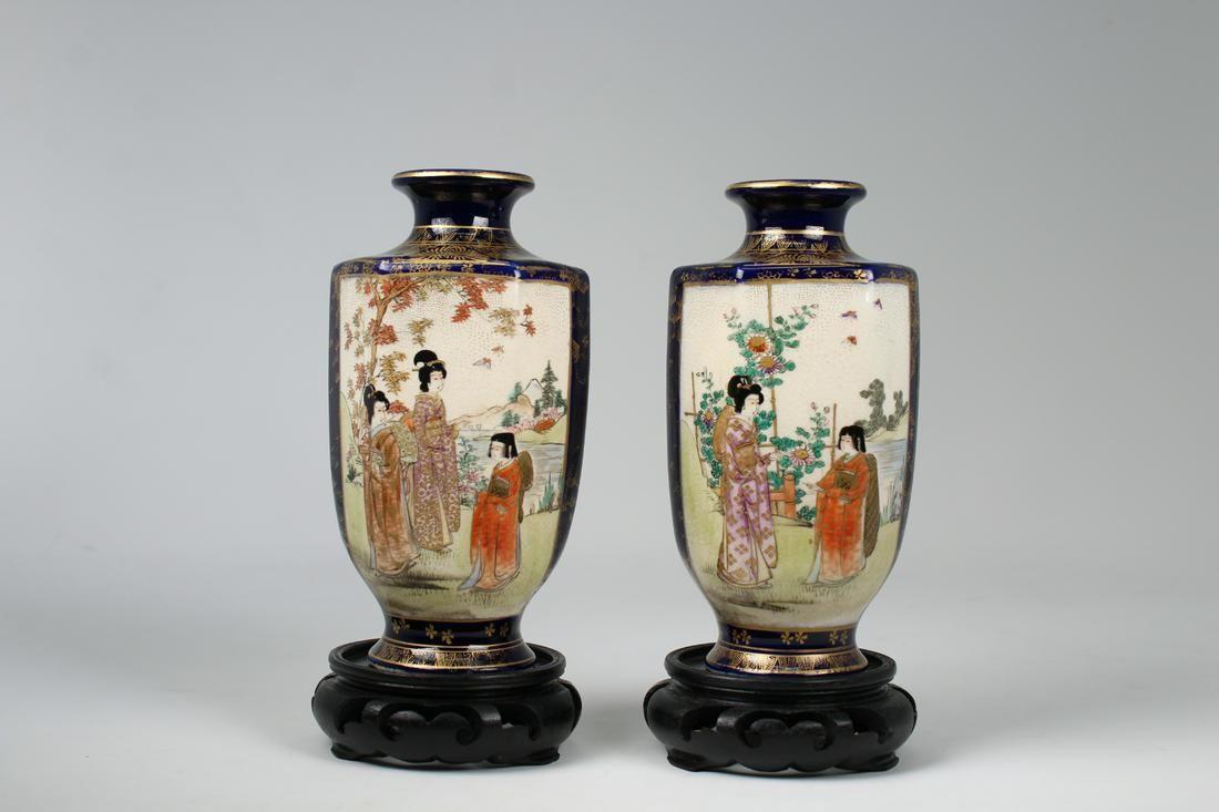 Signed, (2) Japanese Meiji Period Kinkozan Vases
