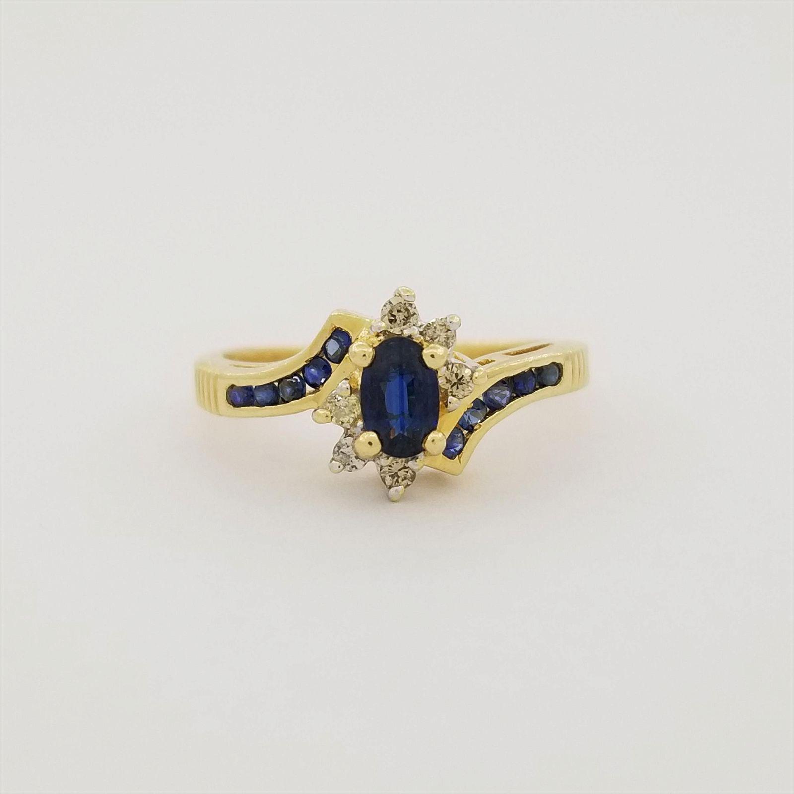 14K Gold Sapphire & Diamond Ring
