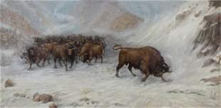 Gherman Komlev 1933 2000 Cattle in Snow