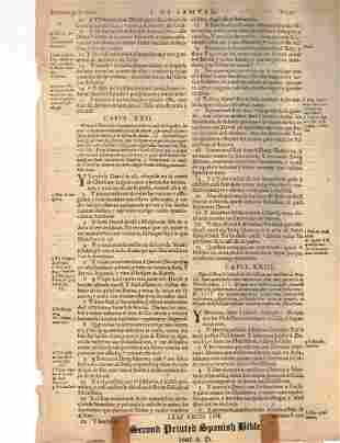 1602 AD Second Printed Spanish Bible Leaf