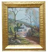 F. Thomas (20th C.) Landscape w/ Cottage