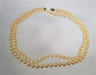 Antique DoubleStrand Natural Pearl 8mm Necklace