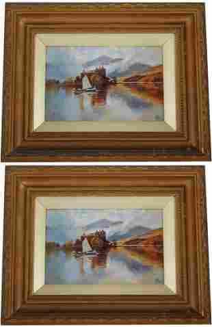 2 European School Landscape Paintings Monogrammed