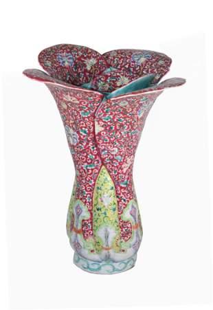 Rare Chinese Ruby-Ground Famille Rose Vase