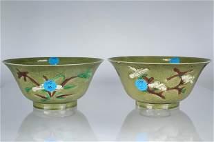 Kangxi, Olive Ground Brinjal Bowls. Ex Sotheby's