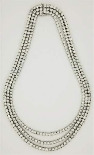 Stunning 18K WG 54ctw 3-Strand Diamond Necklace