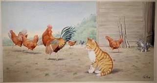 "Peter Barrett (British, B 1935) ""Life of a Kitten"""