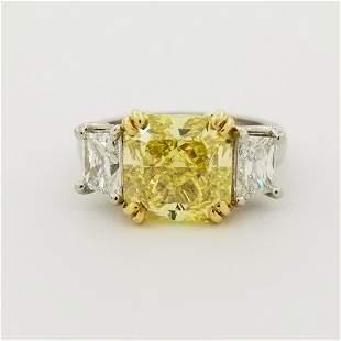 4ct Fancy Intense Yellow Diamond & Platinum Ring
