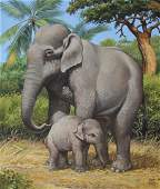 """Chuck Ripper (B. 1929) """"Asian Elephants"""""""