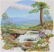 Chuck Ripper (B. 1929) Wildflowers, Forest Stream