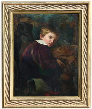 19th C. Signed Portrait of Boy w/ Hound