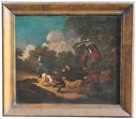 Old Master European School Wild Boar Hunt Painting