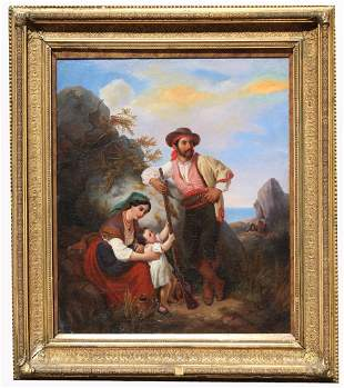 Signed, 19th C. Italian Painting of a Family