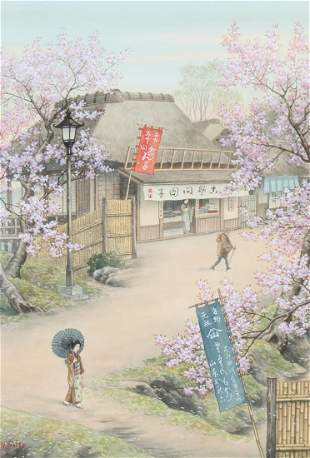 Saito, Japanese Watercolor of Figures in a Village