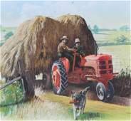 """Jim Butcher (B. 1944) """"Harvesting Hay"""""""