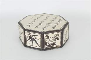 Chinese Calligraphy Lidded Ceramic Box
