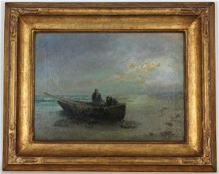 Signed, 19th C. Painting of Fishermen Near Shore