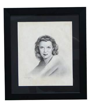 """Signed Vargas """"Jane Russell"""" Pencil Drawing"""