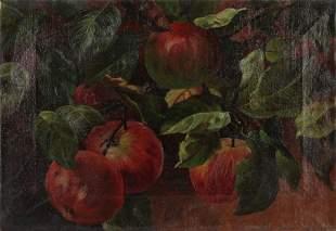 American School, 19th C. Painting of Apples