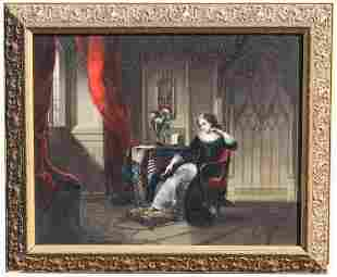 European School, 19th C Interior Painting of Woman