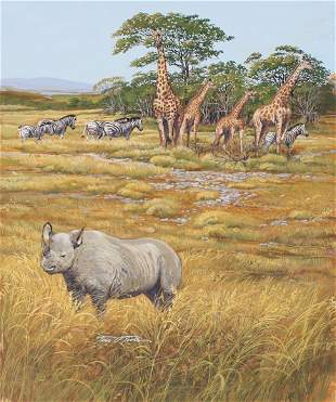 "Tim O'Toole (B. 1949) ""Tanzania Wildlife"""