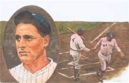 """Tom Lydon (B. 1944) """"Lou Gehrig"""" Original"""