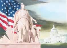 """Tom Lydon (B. 1944) """"America w/ Eagle"""" Original"""