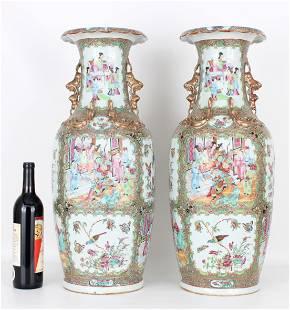 Exceptional Large Rose Medallion Vases, Qing