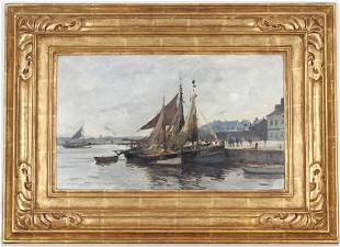 """Edward Brian Seago (1910 - 1974) """"Honfleur Harbor"""""""