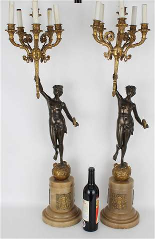 (2) Monumental Bronze French Empire Candelabra