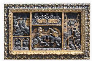 Heavily Carved Antique Battle Scene Relief
