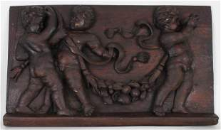 Antique European Cherubic Carved Wooden Relief