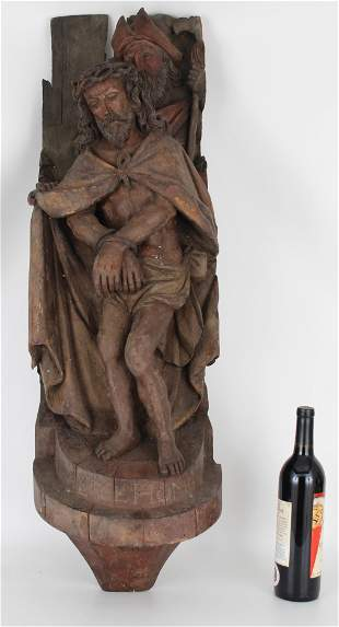 "Antique Carved Jesus Figure, ""Ecce Homo"""