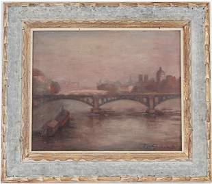 """Griswold, """"On the Seine, France"""" Oil Painting"""