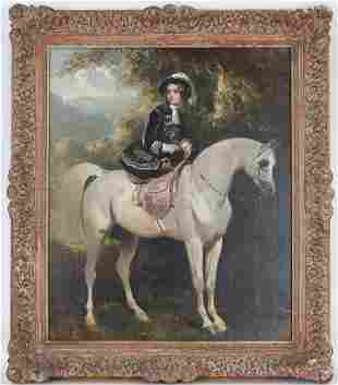 Signed, 19th C. Painting of Figure on Stallion