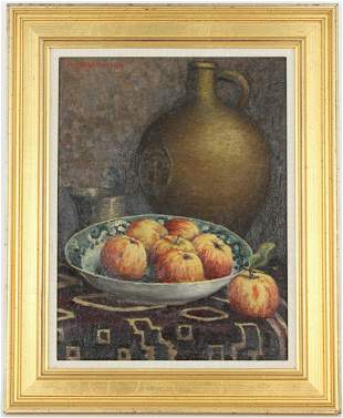 Signed, 19th C. Still Life Painting on Board