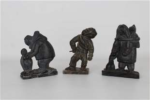 (3) Carved Stone Inuit Figures, Signed