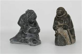 (2) Carved Inuit Figures, One Signed