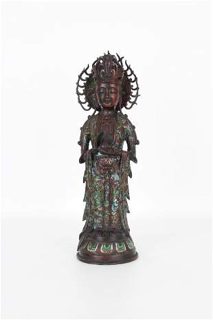 Marked, Antique Chinese Cloisonne Guanyin Figure