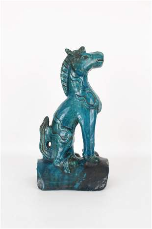 18th C. Chinese Glazed Turquoise Roof Tile