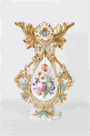 19th C. French Gilt Porcelain Floral Vase
