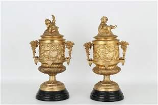 French Gilt Bronze Twin Handled Cherubic Urns
