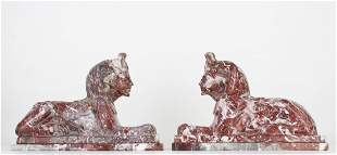 (2) Carved Marble Egyptian Figures