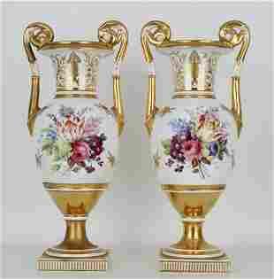 (2) Antique Davenport Twin Handled Urns