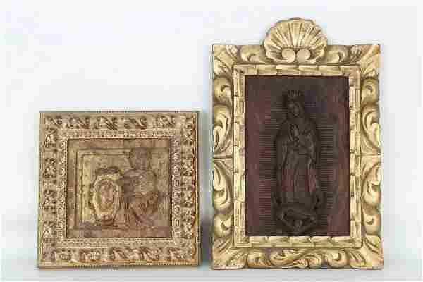 (2) Antique Framed Italian Carved Wood Figures