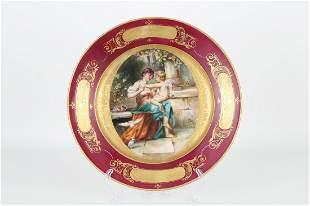 Antique Royal Vienna Porcelain Dish, Signed
